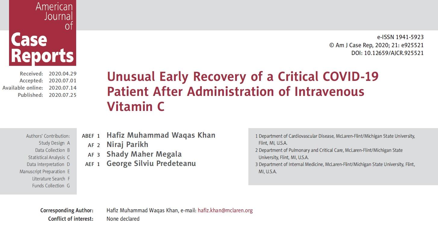 Dożylna witamina C związana z wczesnym wyzdrowieniem u krytycznie chorego pacjenta z COVID-19